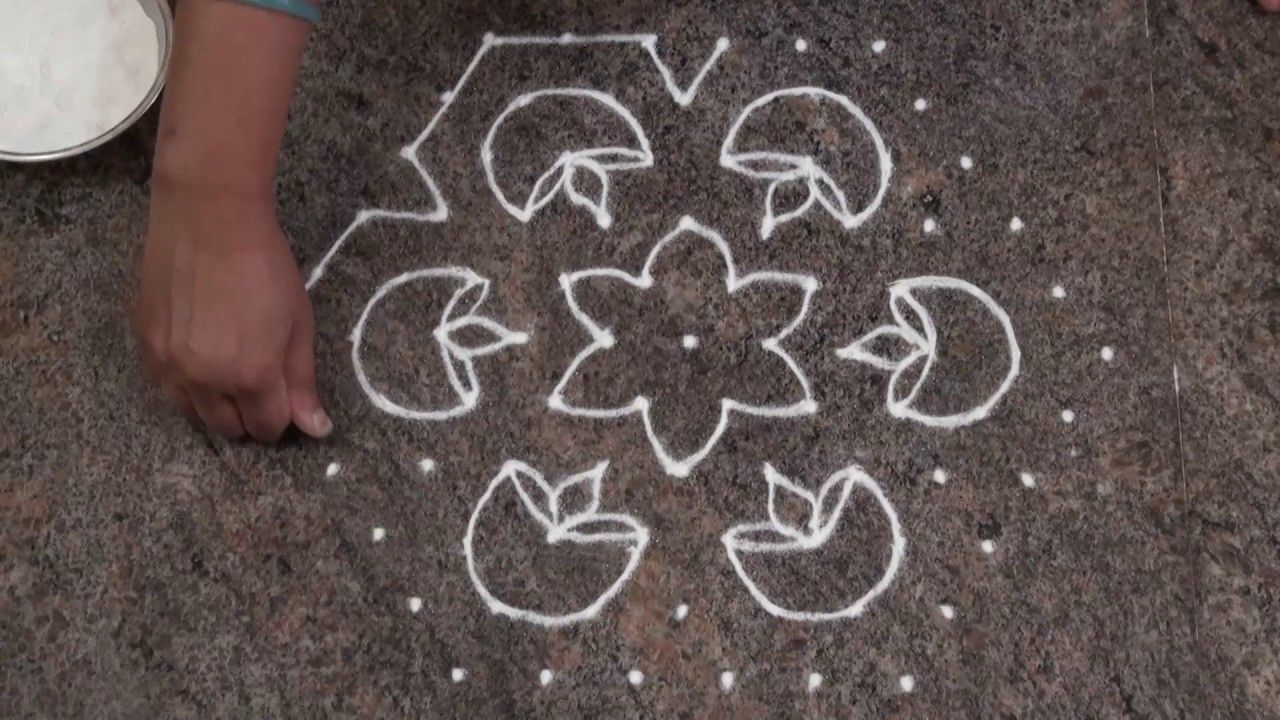 simple and easy rangoli design/ deepam rangoli with 11
