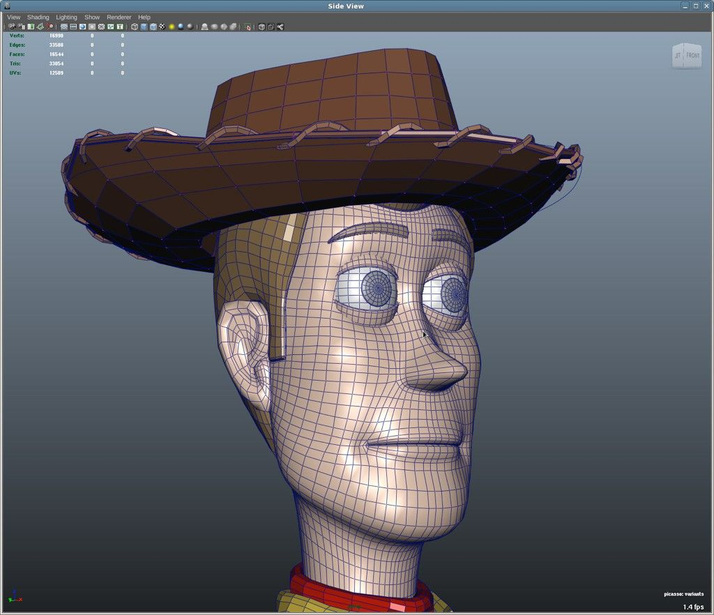 Woody's Face Wire Frame トポロジー, ワイヤーフレーム, モデリング