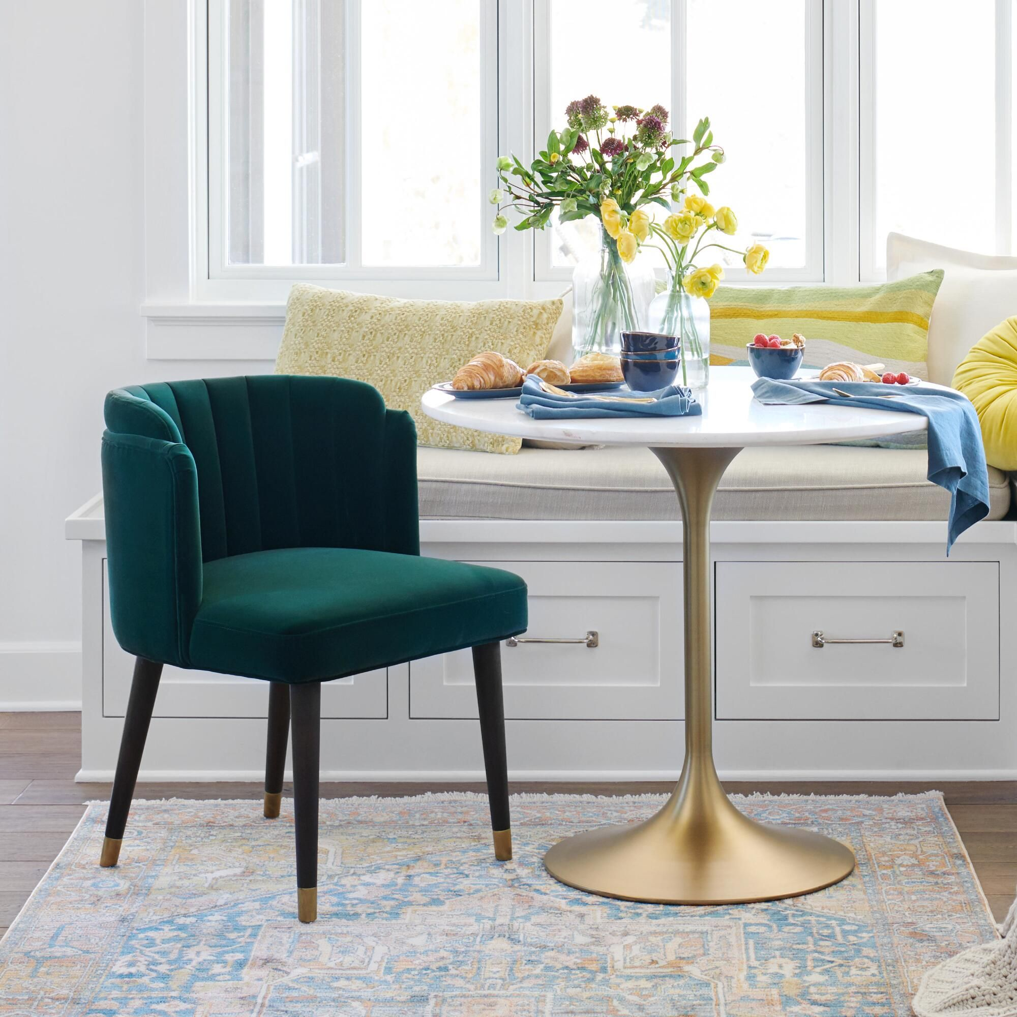 Green velvet channel back isadora dining chair set of 2 in
