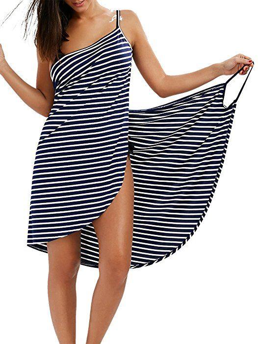 großer Diskontverkauf fantastische Einsparungen mehr Fotos Fee-Lice Damen Lang Kleid Ärmellos Striped Open Back Sommer ...