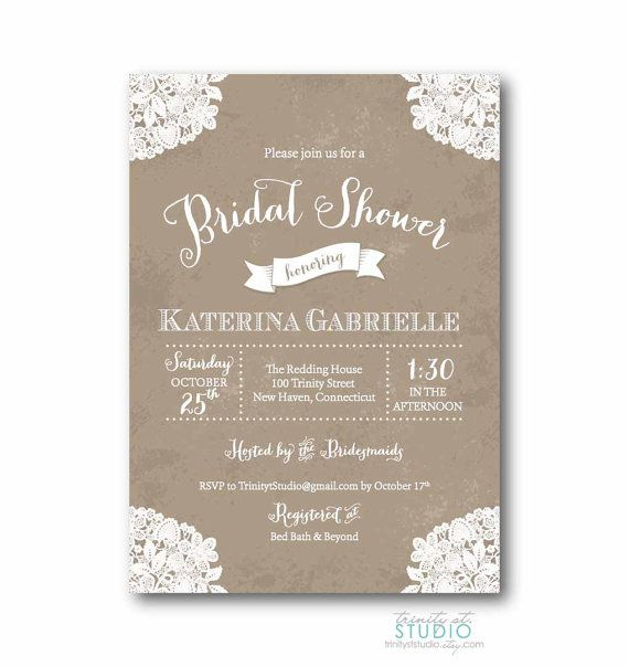 Vintage Lace Rustic Bridal Shower Invitation Shabby Chic Wedding