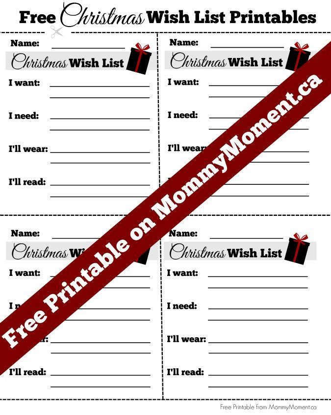 FREE CHRISTMAS WISH LIST PRINTABLES Free printables, Holidays and Free