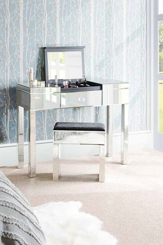 APOLLO Mirrored Dressing Table With Fliptop Hidden Compartment And Make Up  Mirror