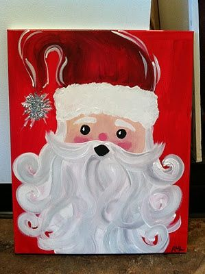 Santa painting easy santa painting christmas crafts for Easy christmas paintings on canvas