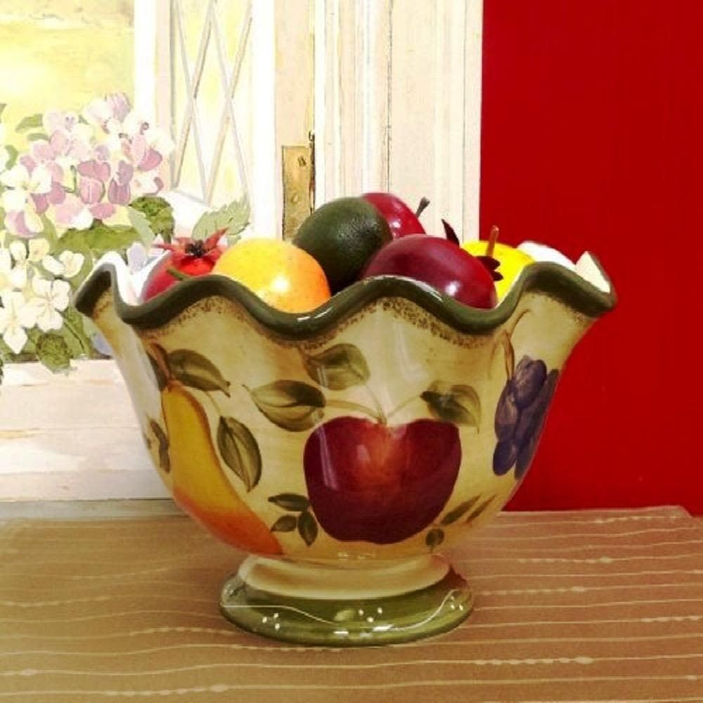 Tuscan Kitchen Decor Collection Deluxe Hand Painted Fruit Bowl Red