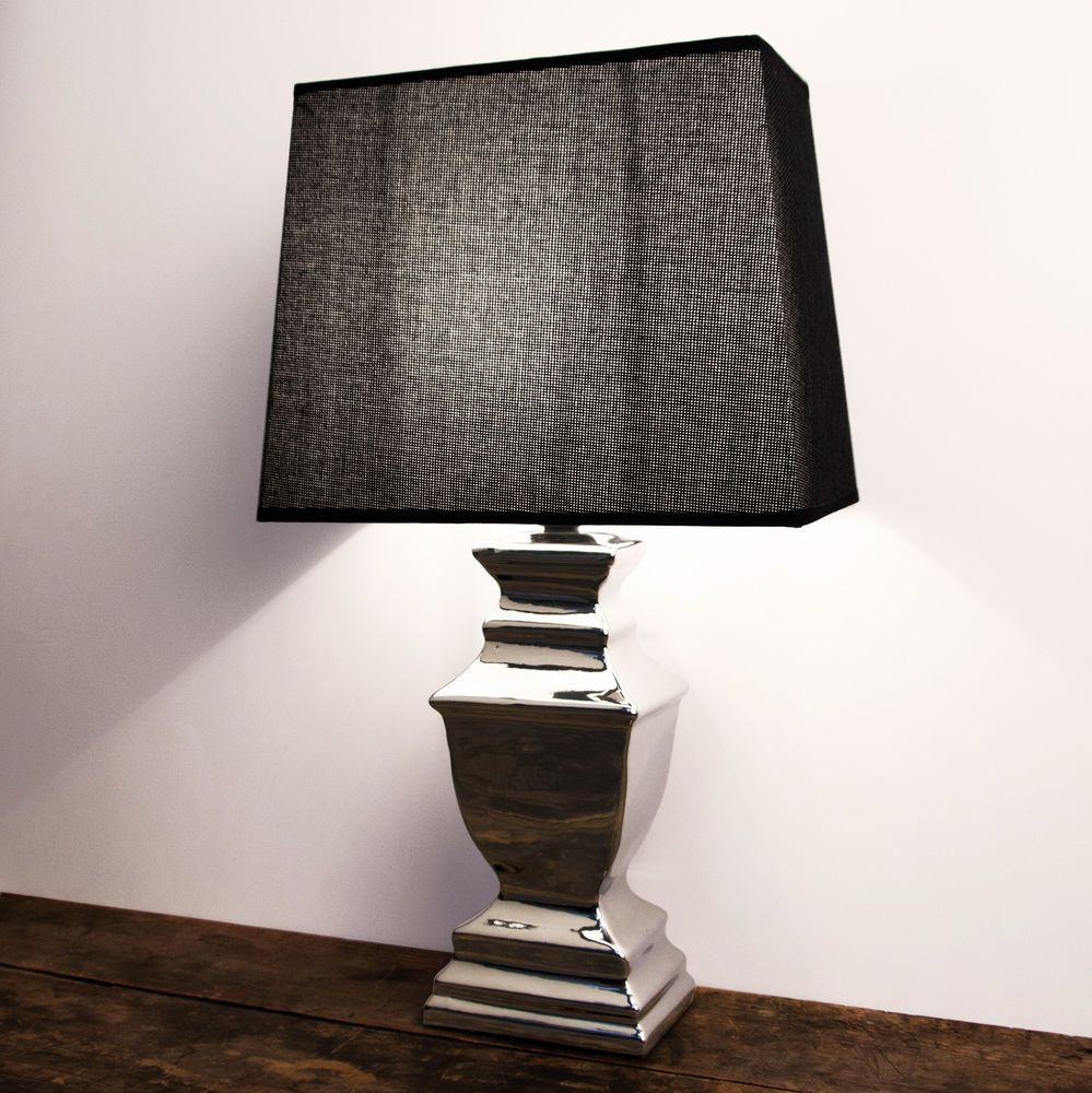 stehlampe tischleuchte keramik silver platet silber lampe shabby chic in m bel wohnen. Black Bedroom Furniture Sets. Home Design Ideas