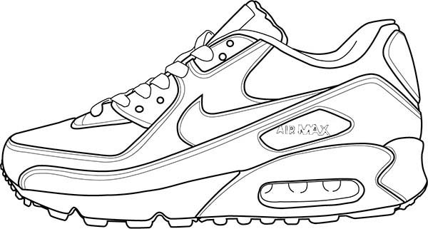 Air Max 90 Shoes Coloring Page Coloring Sky Sneakers Drawing Shoes Drawing Happy Socks Outfit