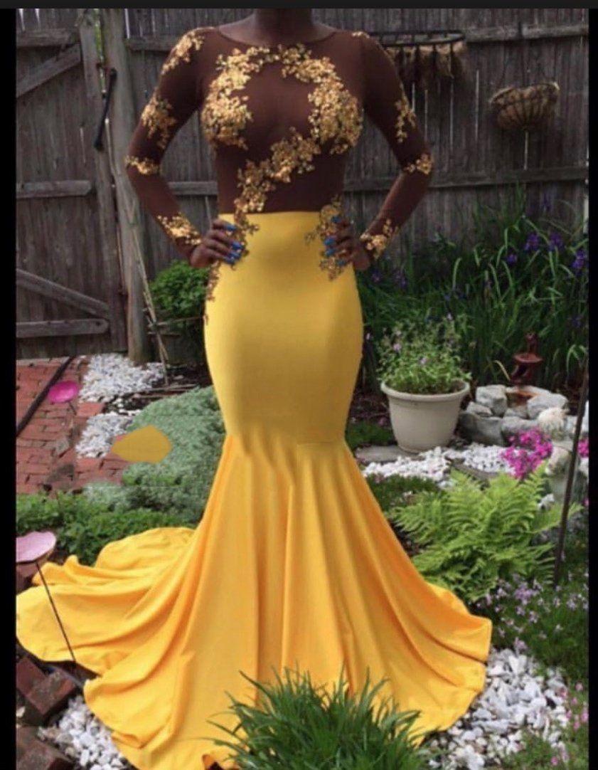 2021 Long Sleeve Yellow Mermaid Satin Prom Dresses ...