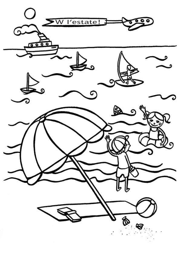 Disegni Sullestate Da Stampare E Colorare Vacanze Al Mare