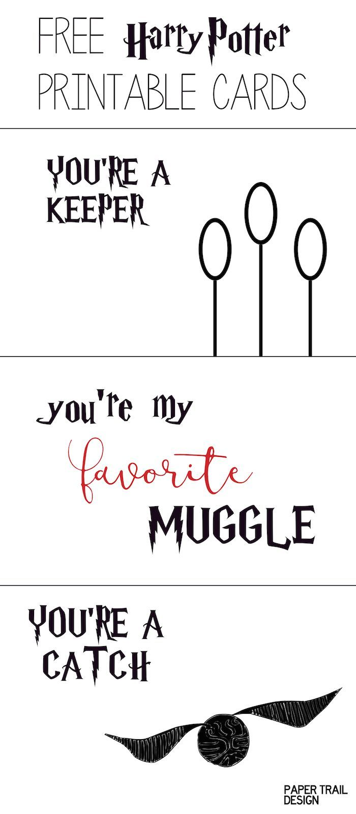 free printable harry potter cards for valentines anniversaries special occasion or whatever youre a catch keeper and youre my favorite muggle