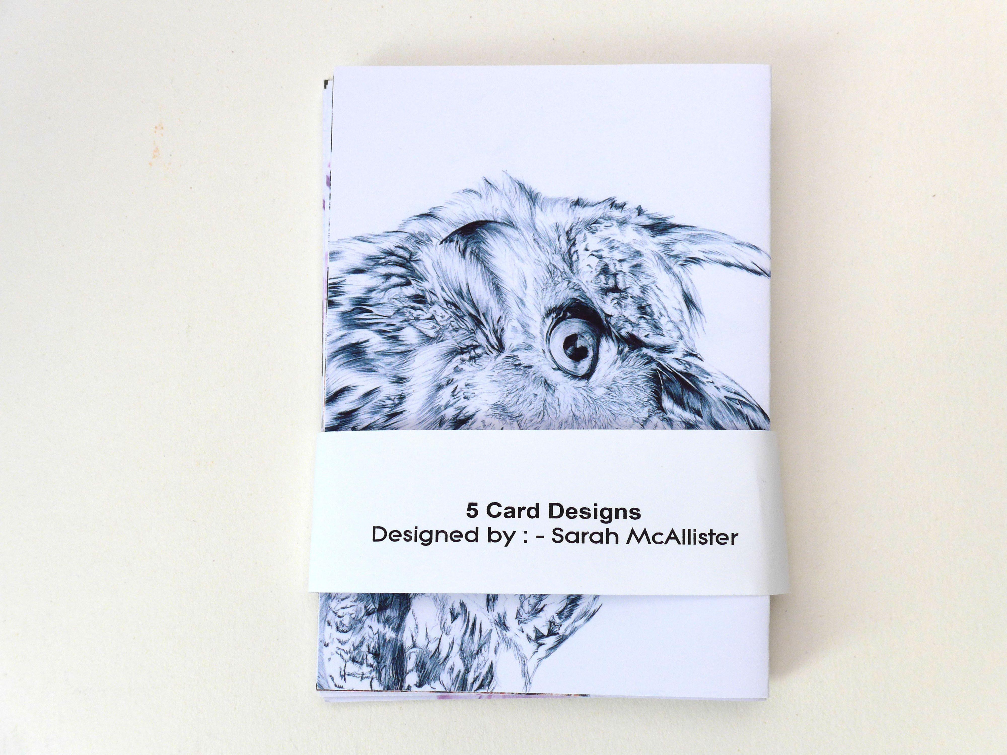 Owl Art Card Greeting Cards Bird Greeting Cards Thank You Cards