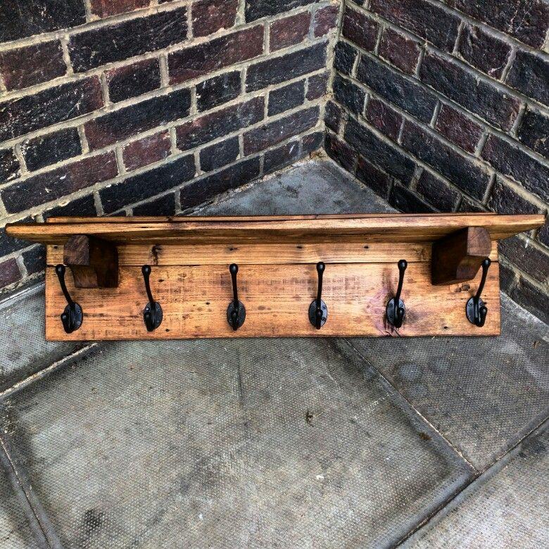 Handmade Rustic Coat Hangers With Shelf, Wolf Rustic Furniture