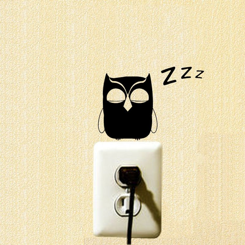 Quote Owl Fashion Wall Decals Vinyl Funny Switch Stickers Decoration ...