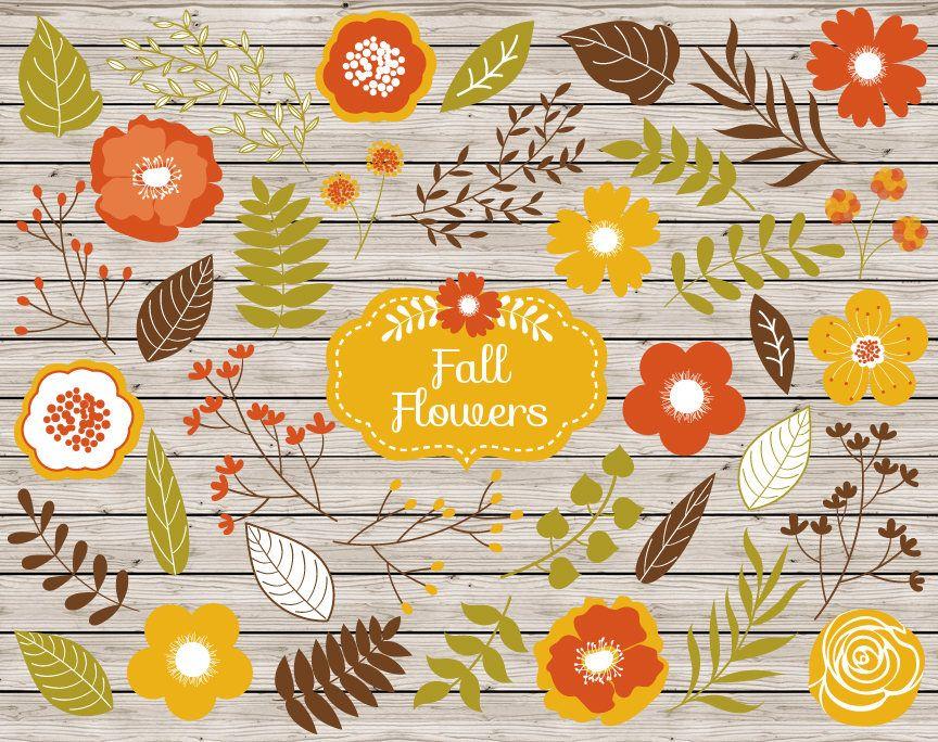 70% OFF SALE Flowers Clipart - Vector Flowers Clipart, Rustic Clipart, Fall, Autumn Flowers Clipart, Flower Clipart, Flowers Clip Art