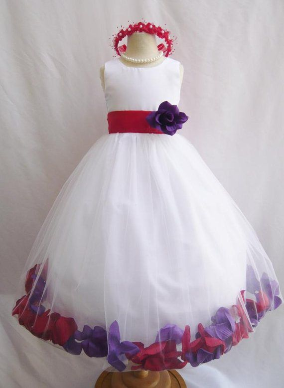 Flower Girl Dress Would Be Easy To Make The Flower Filled Tulle Layer Flower Girl Red Purple Wedding Rose Petal Dress,Semi Formal Wedding Guest Dress Code