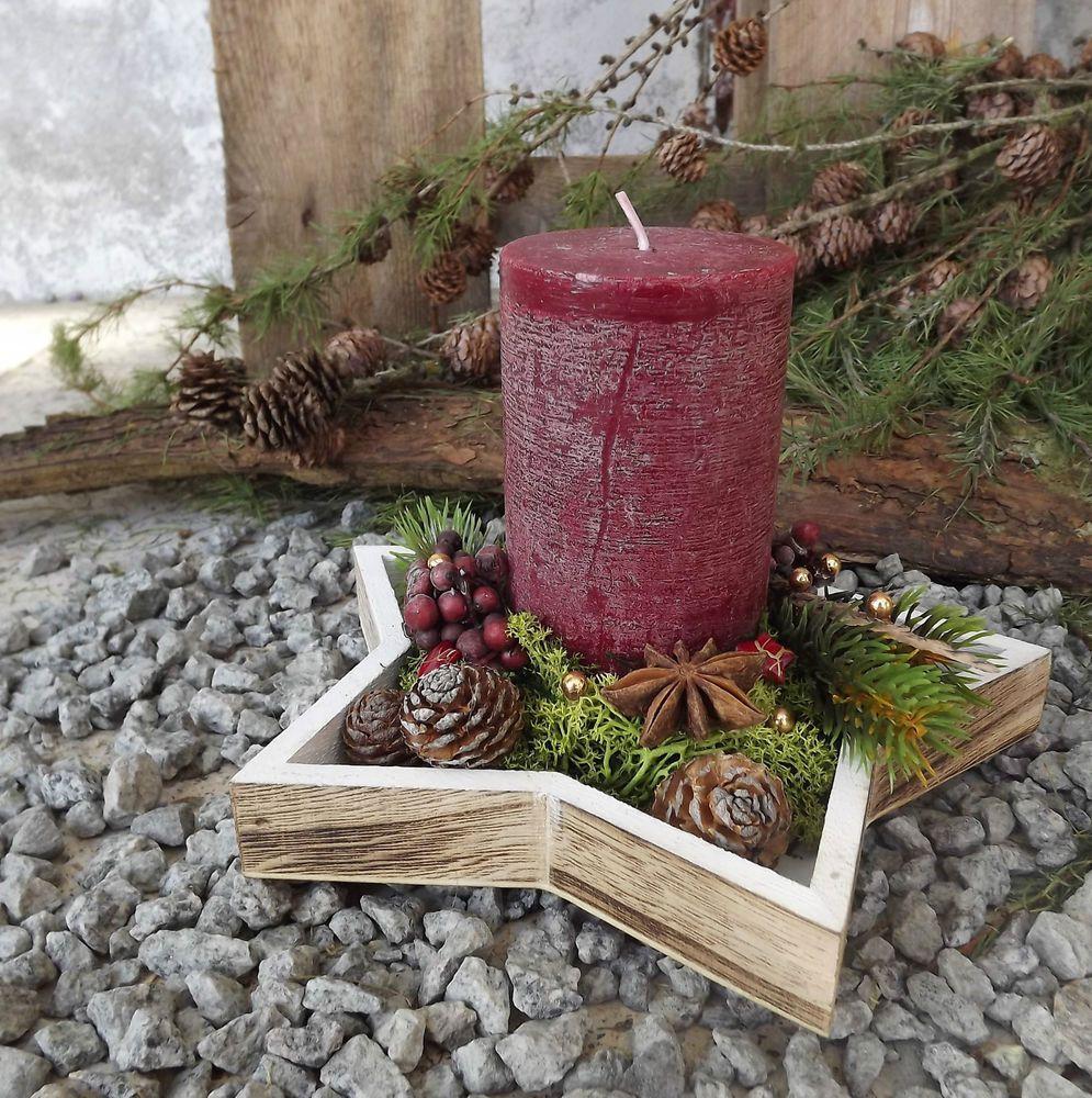 Gesteck mit Kerze bordeaux natur auf Holz Stern Weihnachten Advent #gebasteltewe…