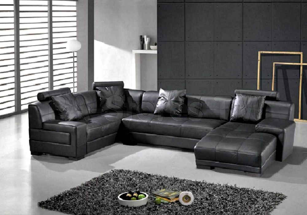 Modern Black U Shaped Sectional Sofa With Pillows Vig Furniture