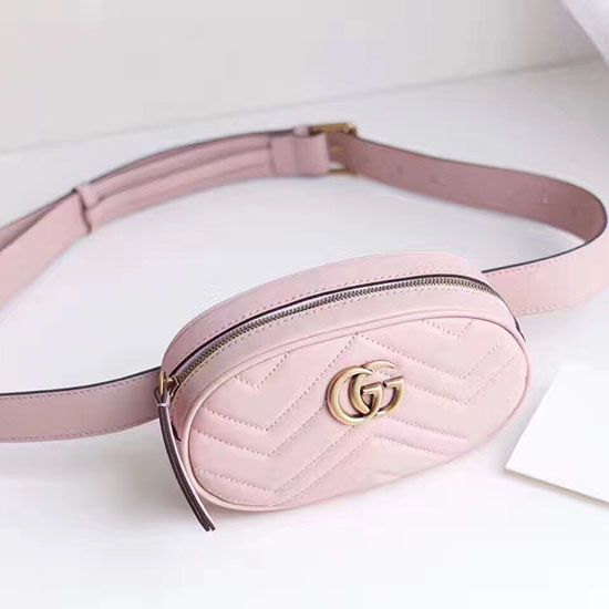 Gucci GG Marmont Matelasse Leather Belt Bag Pink 476434  93be4ba96f2