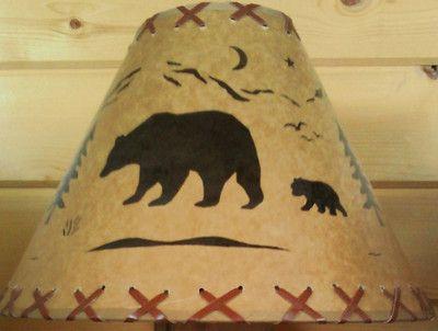 U Pick New Rustic Lamp Shades Bear Moose Log Cabin Deer Elk Stag Big Chief Rustic Lamp Shades Antique Lamp Shades Shabby Chic Lamp Shades