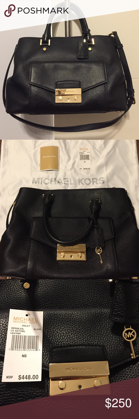 LNWT Michael Kors Haley LG Leather Satchel- Black This is a 100% authentic Michael Kors Haley LG Leather Satchel in black that was purchased new by me from the MK store. It is soft leather exterior & lined interior w/ 2 hand straps & an adjustment shoulder strap. Has 3 separate areas inside: the middle one zips closed & the other two have magnetic closure. Has 4 cell phone pockets & additional interior zipper pocket. Exterior pocket locks & key hides in charm. No wear or stains but normal…