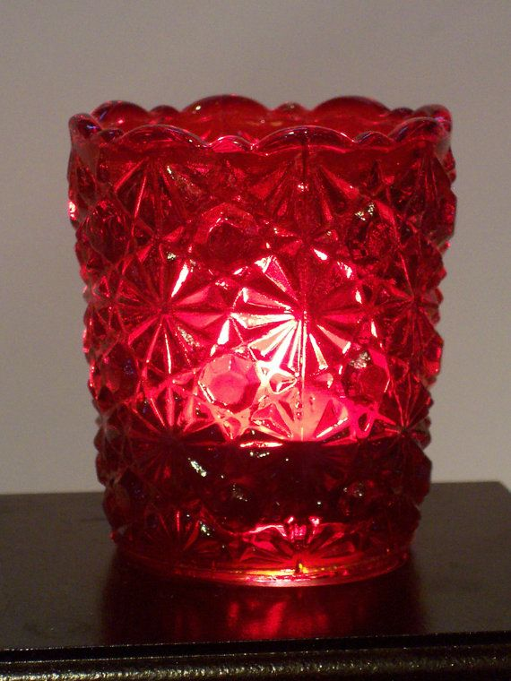 Vintage Mosser Ruby Red Glass Daisy Button Votive Candle