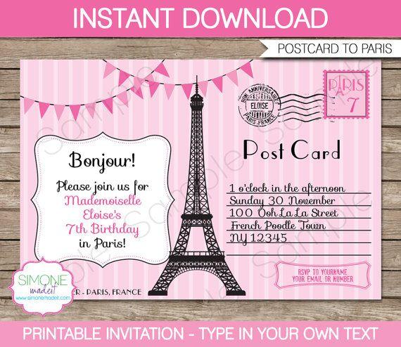 Paris Invitation Template Postcard To Paris Birthday Party