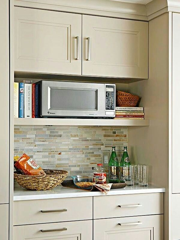 Microwave Wall Shelf In Pantry Compact Oven Built Cabinet