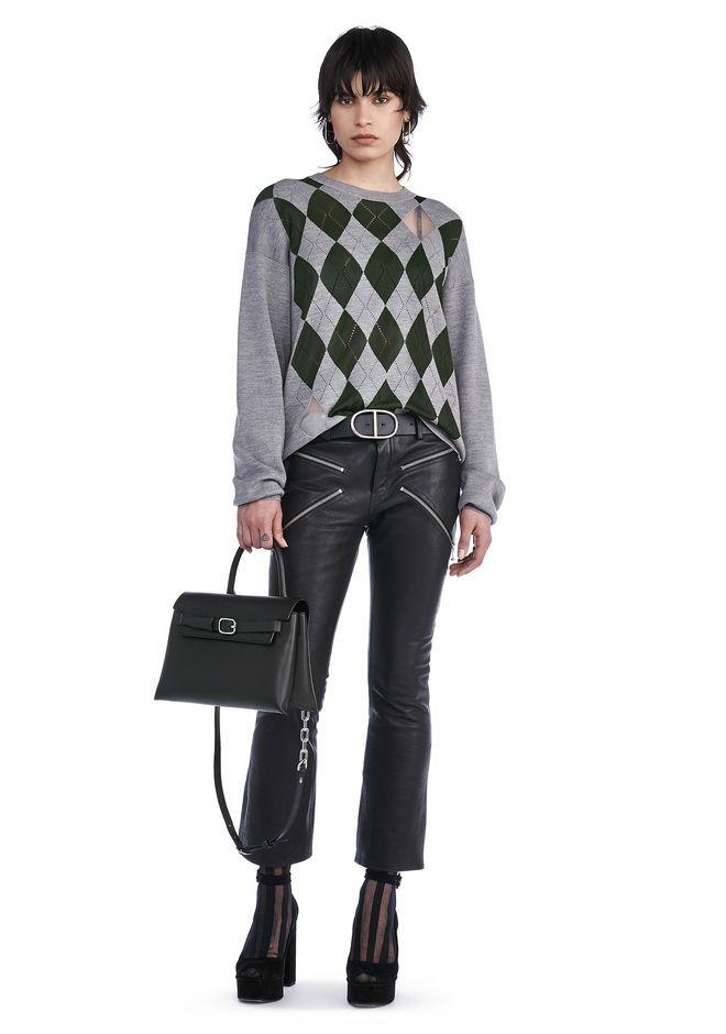 ALEXANDER WANG Argyle Pullover With Sheer Intarsia Diamonds. #alexanderwang #cloth #