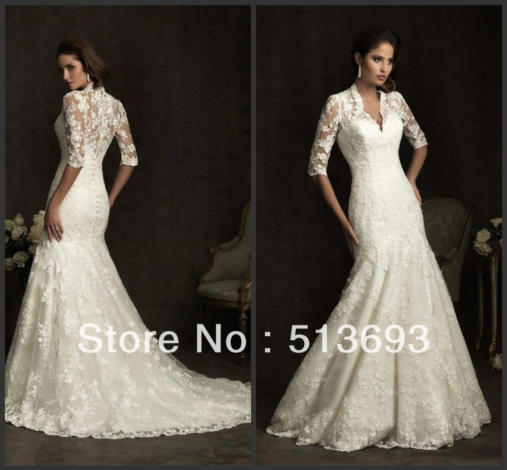 Fancy Free Shipping V-neck Plus Size Mermaid 2014 Lace Bridal Gowns Modest Wedding Dress with Sleeves US $168.00