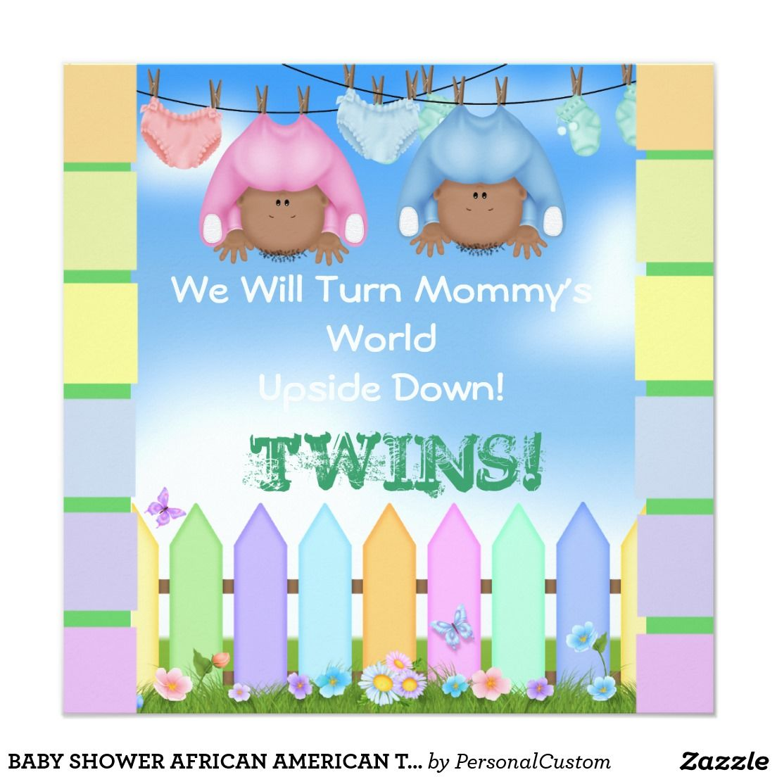 BABY SHOWER AFRICAN AMERICAN TWIN BOY & GIRL INVITATION | showerNTA ...