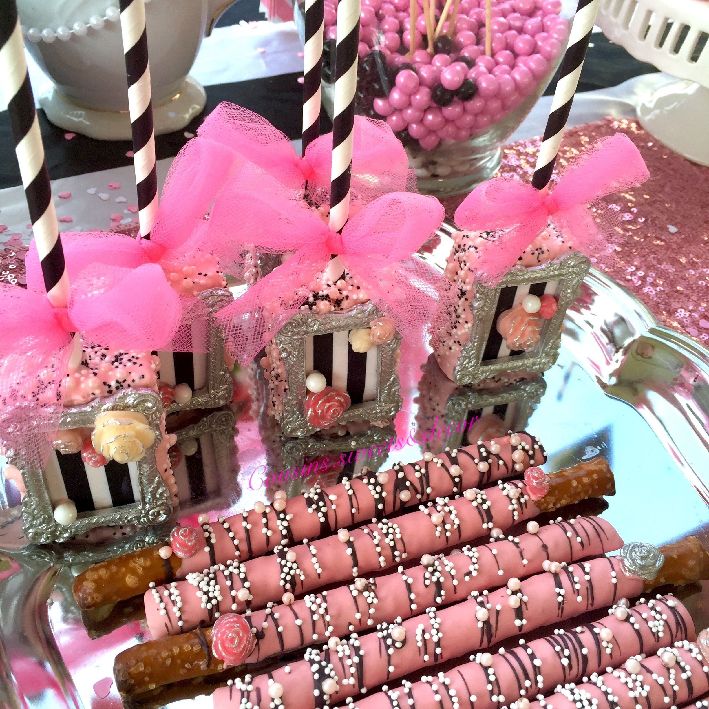 Chanel Theme Bridal Shower Chocolate Covered Pretzel Rods