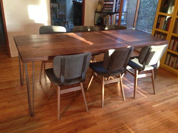 2 thick walnut dining table with hairpin legs on Etsy 126806