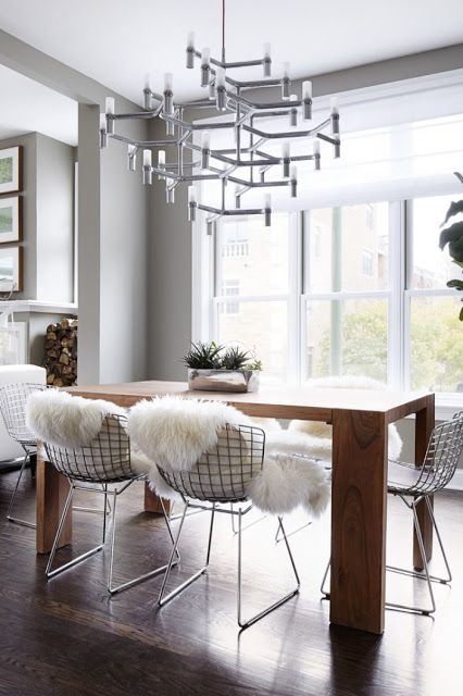 Wire Chairs And Sheepskin Blankets   H O M E   Pinterest Adorable Wire Dining Room Chairs Design Ideas