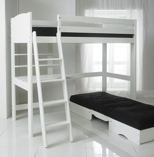 High Sleeper Bed With Black Futon Desk And 2 Shelves 3ft Single In