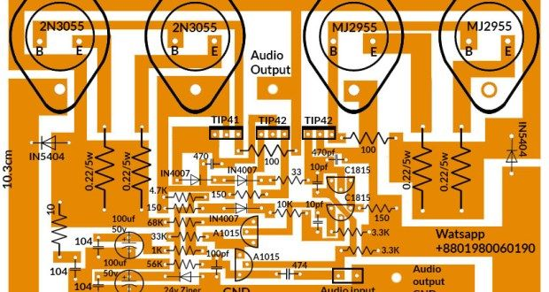how to make 4 transistor amplifier circuit board 200 Watts ...