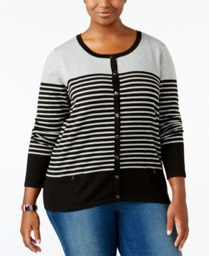 Karen Scott Plus Size Striped Cardigan, Only at Macy's - Black 2X