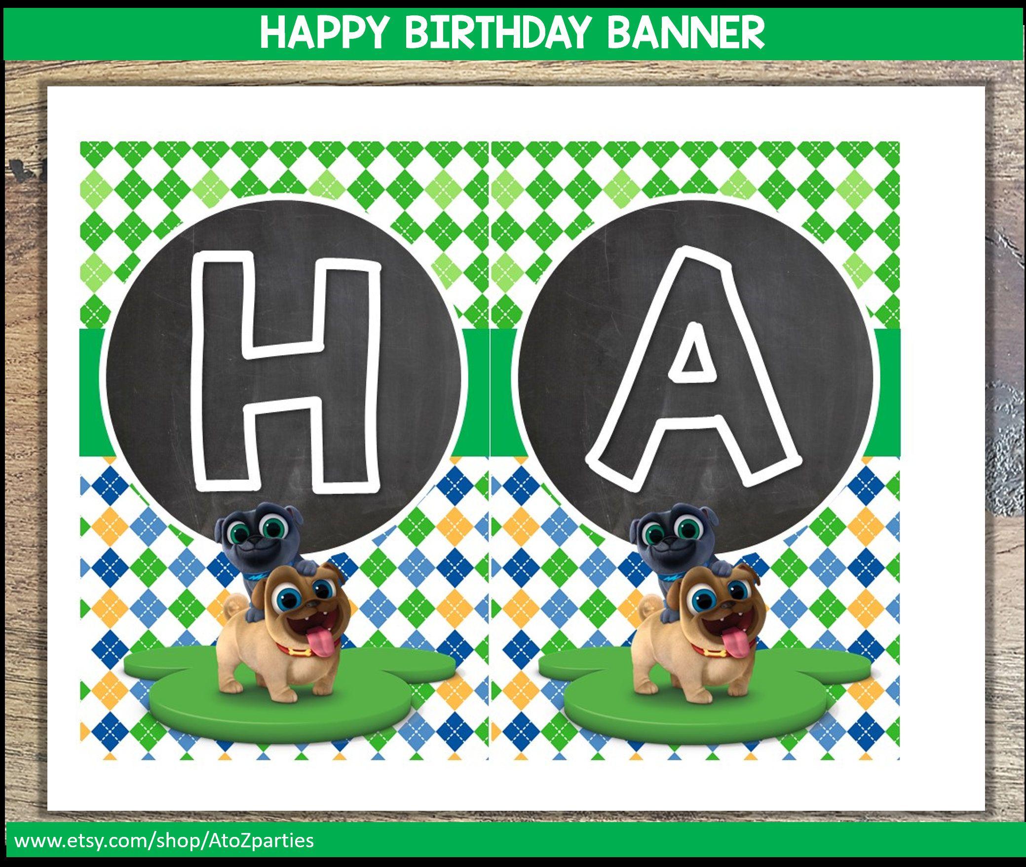 Puppy Dog Pals Happy Birthday Banner Green And Chalkboard Puppy Dog Pals Decor Instant Download U Happy Birthday Banners Birthday Banner Dogs And Puppies