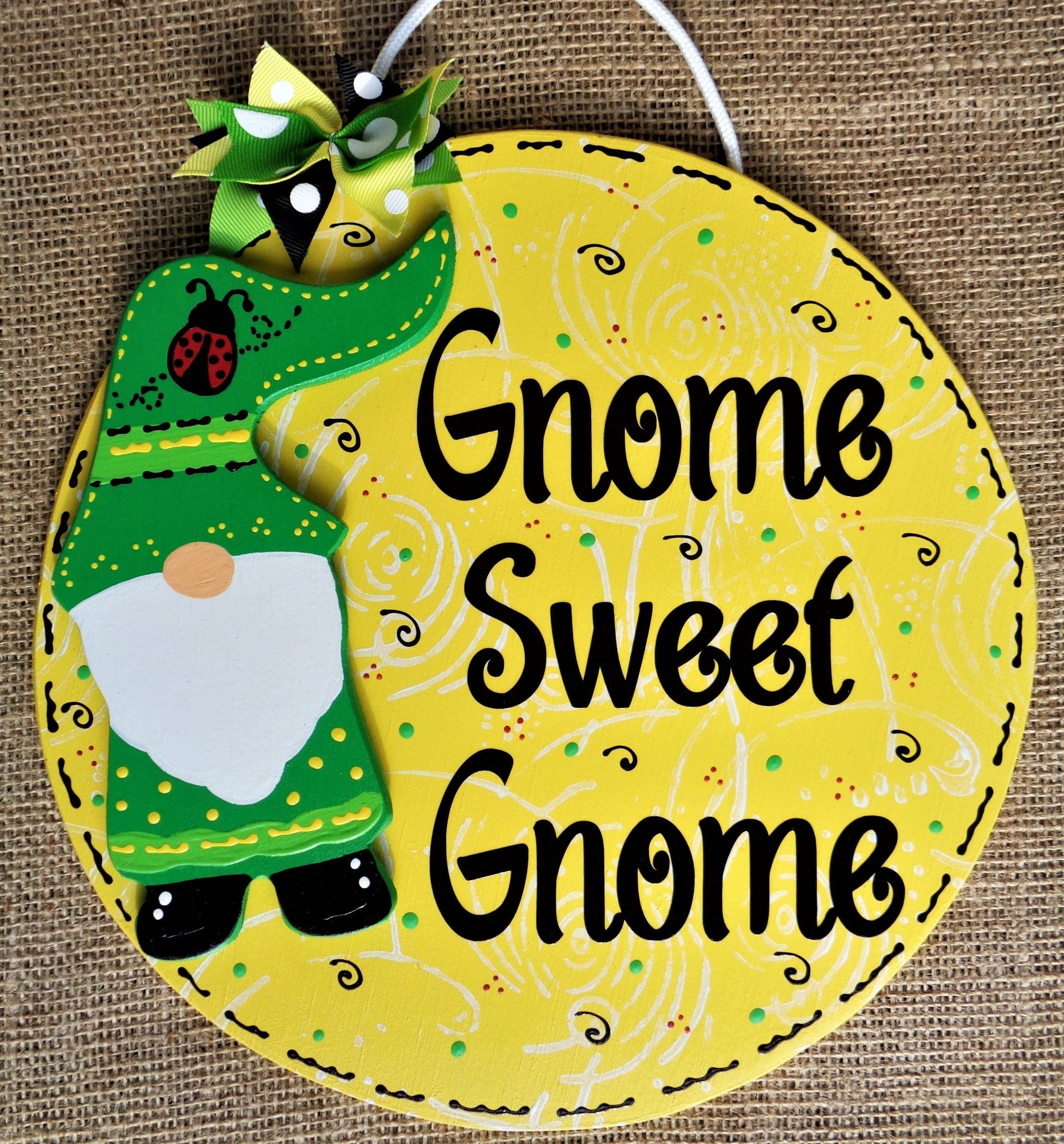 Gnome Sweet Gnome Circle Sign Wall Door Hanger Plaque Family Country Decor Handcrafted Hand Painted Wood Wooden Spring Summer Ladybug In 2020 Hand Painted Decor