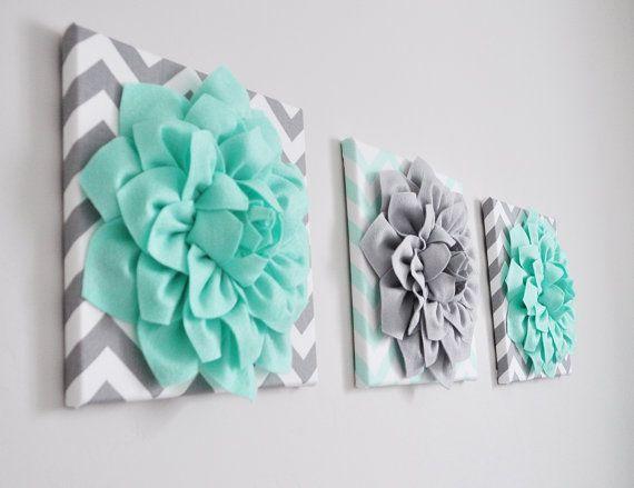 Best Nursery Wall Art Flower Decor Mint Green And Gray By 400 x 300