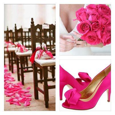 Decoración para boda en rosa mexicano #bodas #ideas #deco Descubre