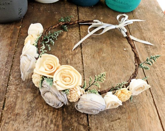 Bridal Flower Crown, Flower Girl, Wedding Hair Accessory, Rustic Head Wreath, Wedding Headband, Wedding Crown, Rustic Wedding, Beach Wedding...