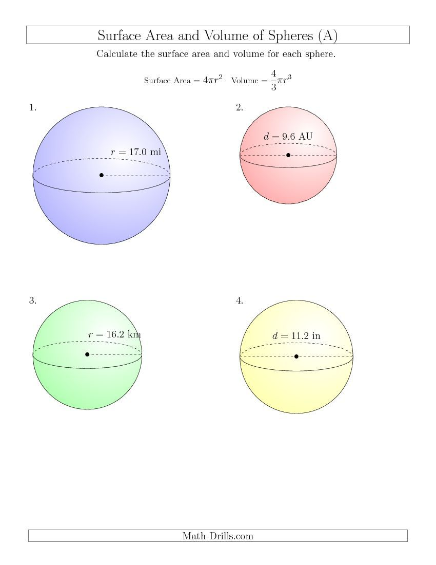New 2015-03-23! Volume and Surface Area of Spheres (One ...