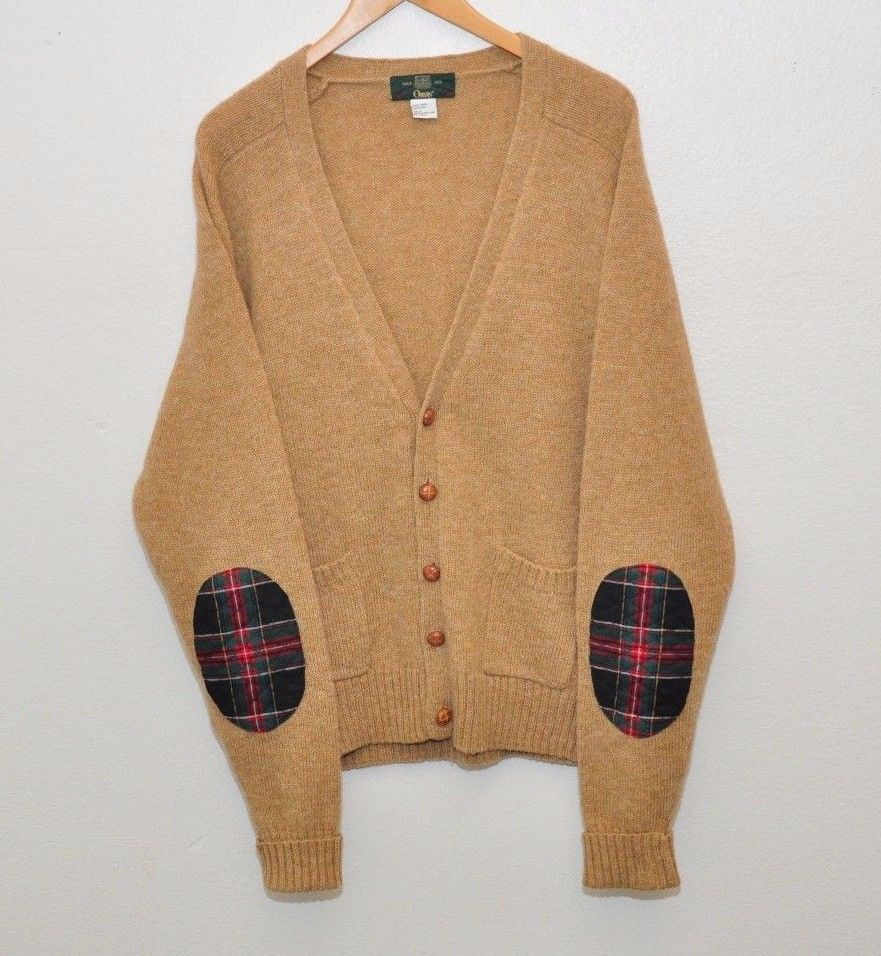 ORVIS Cardigan Sweater Mens L Elbow Patches 100% Wool Shetland ...