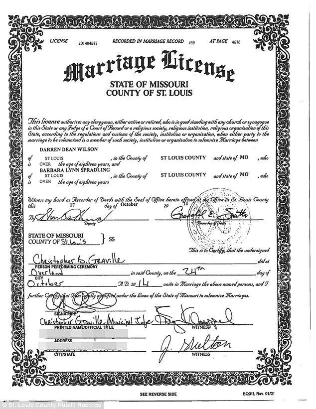 ferguson cop darren wilson married fellow police officer last month