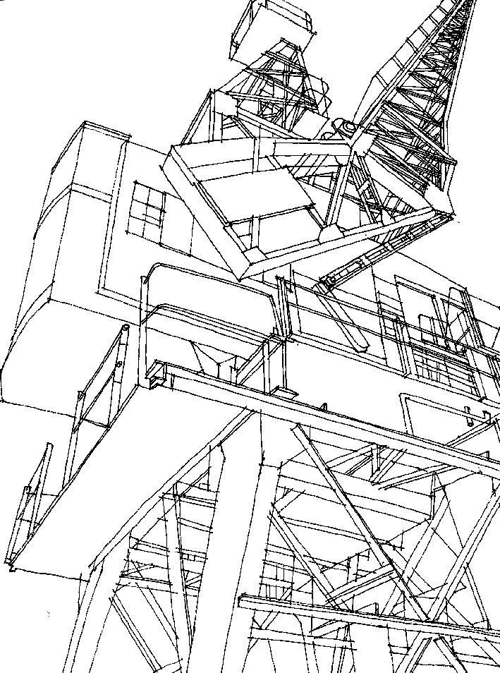 Sketch of a solid majestic crane down at Leith Docks
