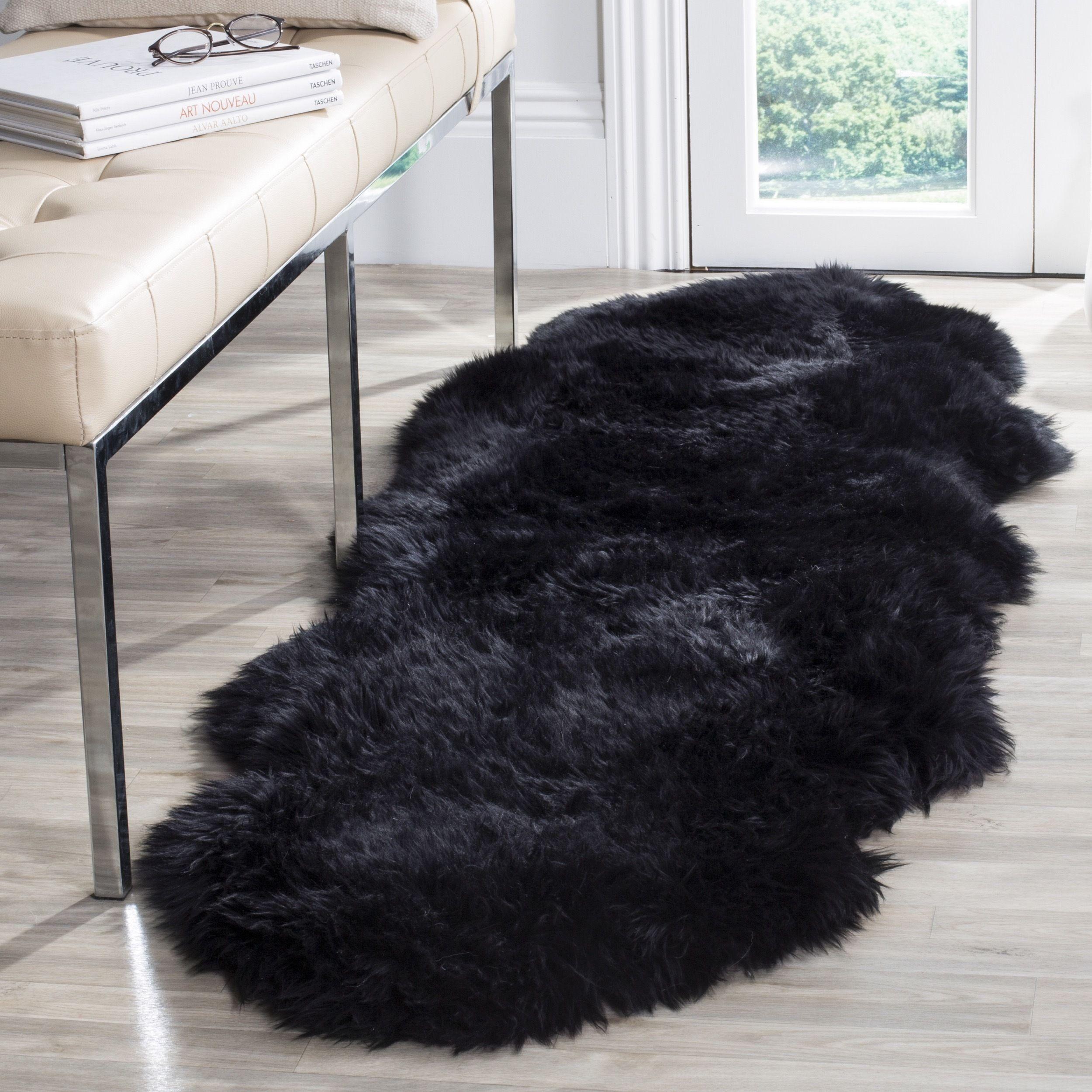 Safavieh Prairie Natural Pelt Sheepskin Wool Midnight Black Shag Rug 2 X 6