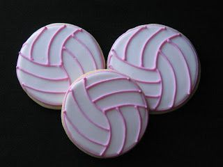 Bake Sale Pink Lined Volleyball Cookie #bakesaleideas