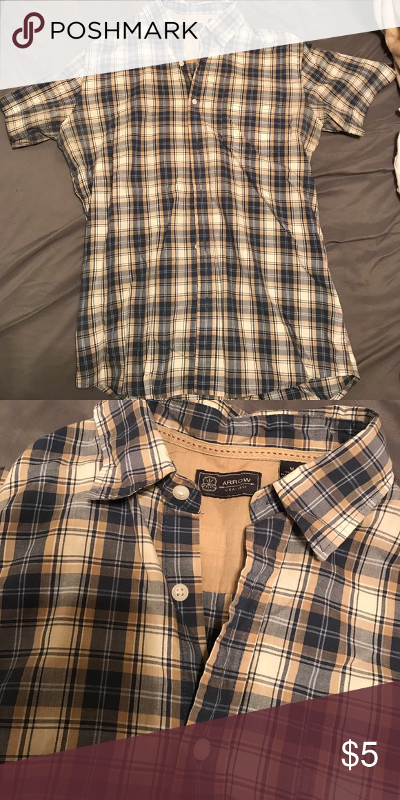 Men's Short Sleeve Plaid Button up Blue, yellow and grey shirt. Nice for dressing up or for everyday wear. Lightly worn, no tears or stains Shirts Casual Button Down Shirts