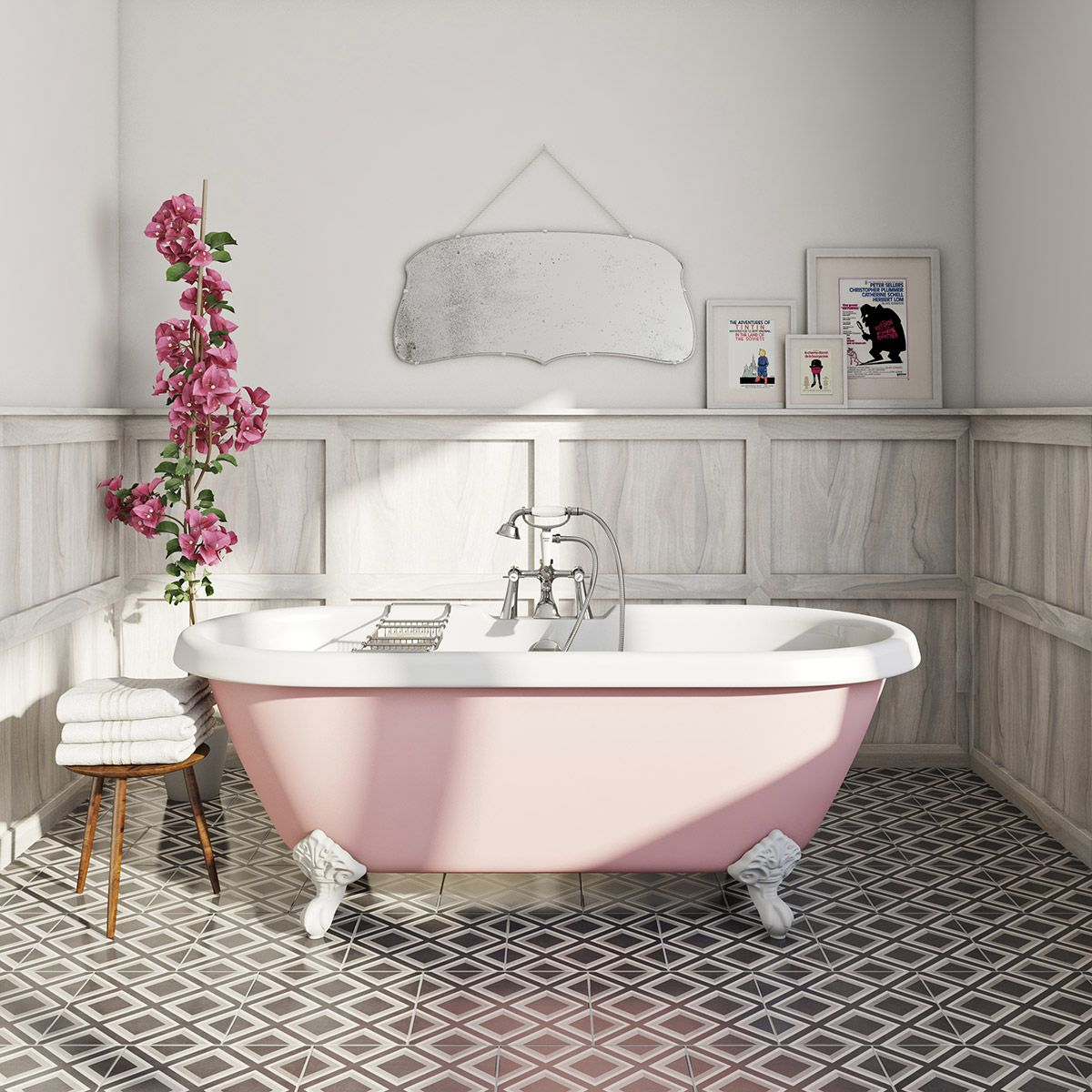 The Bath Co. Dulwich Victoria rose coloured bath | Roll top bath ...