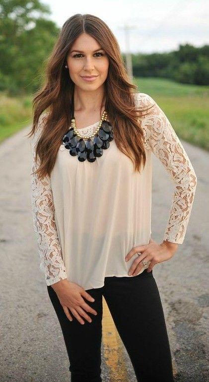 Dottie Couture Boutique - Lace Blouse- Cream, $38.00 (http://www.dottiecouture.com/lace-blouse-cream/)